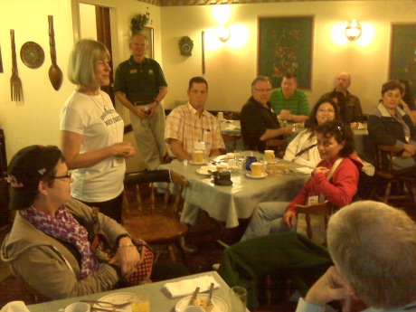 Marcia Kelley addressing alums and friends while in Cooperstown.